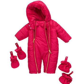 Kate Spade Layette Bow Puffer Snowsuit Sweetheart Pink