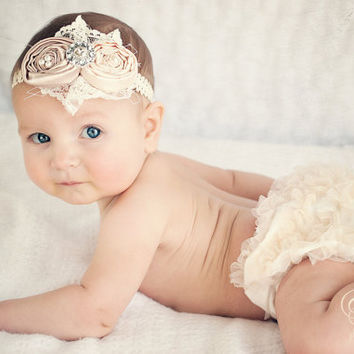 Ivory Baby headband and Lace Bloomer Set...SALE by Ellasbows