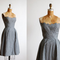 $128.00 vintage 1950s dress // gray strapless by thegreedyseagull on Etsy