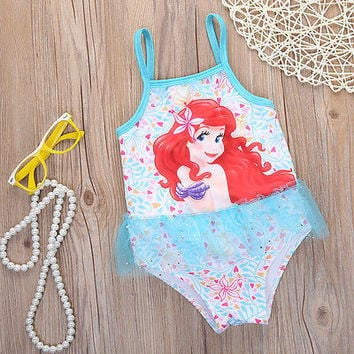 Girls Mermaid Bikini Swimwear one piece bathing suit Swimsuit bikini Children Swimming Swimwear Costumes With Tutu 2-8Y