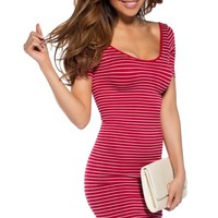 Red and White Stripe Form Fitting Tshirt Dress