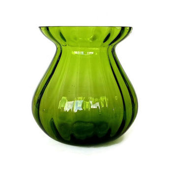 Mid Century Optic Glass Vase, Green Hand Blown Glass, Bud Vase