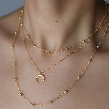 Gold Crescent Moon Necklace - Double Horn Necklace - Bohemian Jewelry - Half Moon Necklace - Minimalist Necklace  XL014