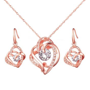 """""""Dancing Heart"""" Cubic Zirconia Rose Gold Pendant Necklace Earrings Jewelry Set Gift for Significant Women"""