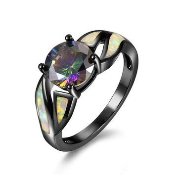 USA stock Fashion Black Gold Plated Women Rainbow Opal round promise Rings