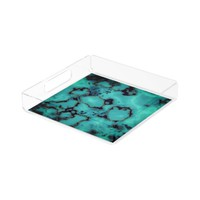 Cool trendy turquoise marble stone design acrylic tray