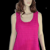 Chico's Sz 2 L/XL Pink Tank Layered Waterfall Summer Top