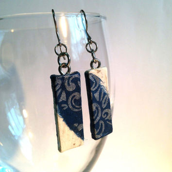 Tiny Blue White Hanji Paper Earrings Dangle Navy Silver Designs Hypoallergenic hooks Lightweight Ear rings