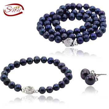 SNH 2016 6-7mm potato AA 925silver real cultured freshwater pearl jewelry  genuine Cultured necklace bracelet and earring set