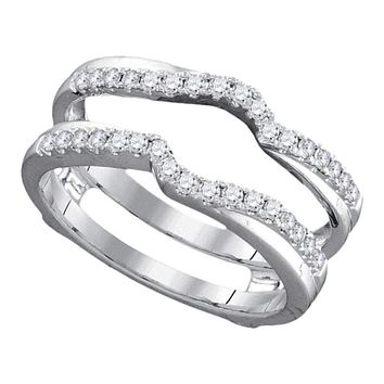 14kt White Gold Women's Round Diamond Ring Guard Wrap Ring Guard Enhancer 1/3 Cttw - FREE Shipping (US/CAN)