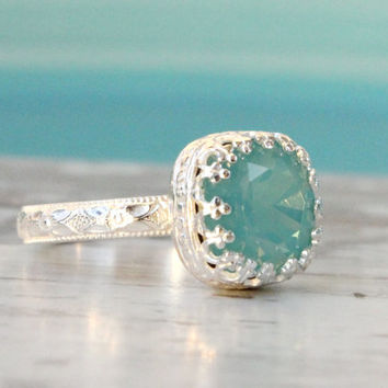Swarovski Pacific opal ring mint color crystal sterling silver floral band, crown setting, vintage style, handmade ring, October birthstone