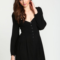 BLACK BUTTONED LACE UP CREPE DRESS