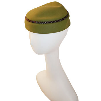 60s Olive Green Pillbox Hat, by Dobbs