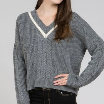 Color Band Pullover - Grey by POL Clothing
