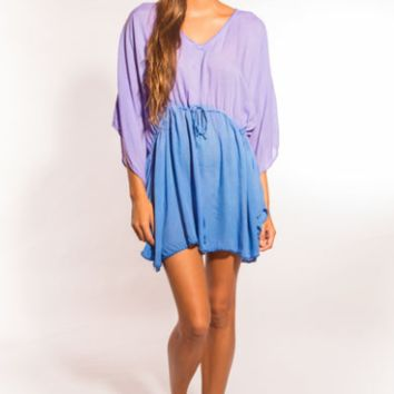 Tiare Hawaii Crochet Butterfly Dress Lavender/Blue Ombre