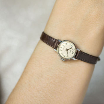 Very small women's watch Dawn ladies micro watch silver brown shades minimalist watch mint condition premium leather strap new