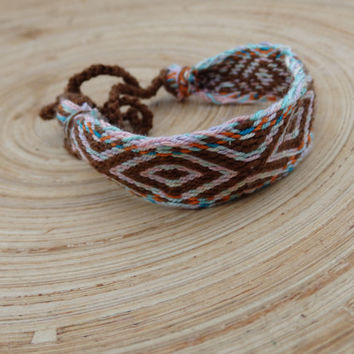 woven bracelet, card weave colorful friendship braclet, brown light purple ethnic wrist band, weaving boho jewelry, jewellery, arm band