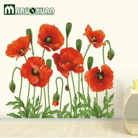 Cheap Sale RED POPPY Removable Wall Decals Home Decor Art Flower Vinyl Mural Bedroom Wall Stickers Free Shipping