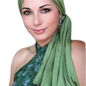 Olive Green Jersey Turban, Head Wrap, Alopecia Scarf, Chemo Hat and Scarf Set