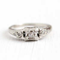 Vintage Diamond Ring - 14k White Gold .08 CTW - Size 5 Art Deco 1930s Engagement Promise Wedding Bridal Fine 5 Stone Jewelry