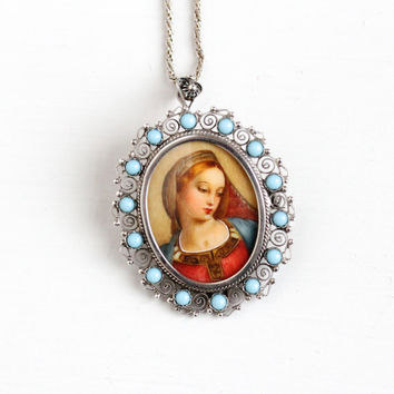 Sale - Vintage 800 Silver Hand Painted Woman Brooch Pendant - Antique Miniature Portrait Blue Stone Cannetille Filigree Necklace Jewelry