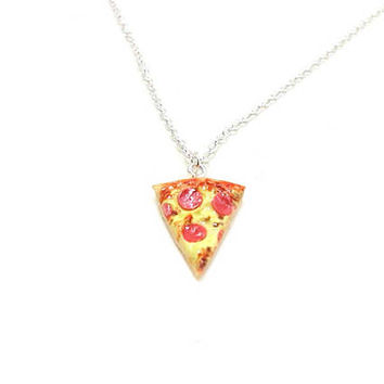 Pizza Necklace, Charm Necklace, Charm Jewelry, Pepperoni Pizza Necklace, Pizza Jewelry, Slice Of Pizza Charm, Pizza Lover, Best Friend Charm