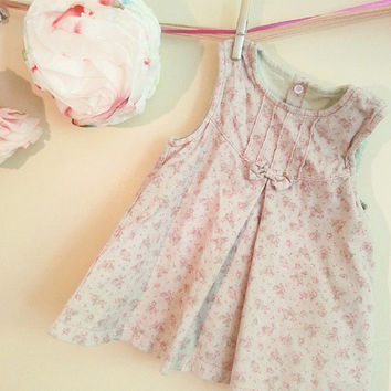 Corduroy Floral Cotton Baby Smock Dress, children's vintage dress, gift for her, clothing for children, 12 months old, girls dress, Vintage