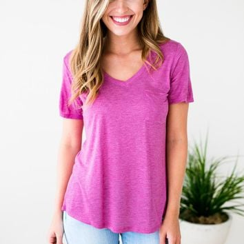 Better Now Lightweight Pocket Tee in Orchid