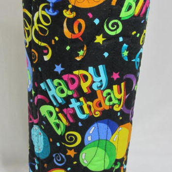 Happy Birthday Wine Bag Gift Bag Fabric Wine Bag Quilted Wine Tote