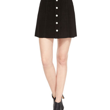 The Gove Pleated Suede Skirt, Super Black, Size: