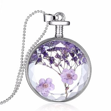 Natural Real Red Decorative Dried Flowers Necklace Pendant Dry Flower Plants Jewelry Heart Metal Glass Necklace drop shipping