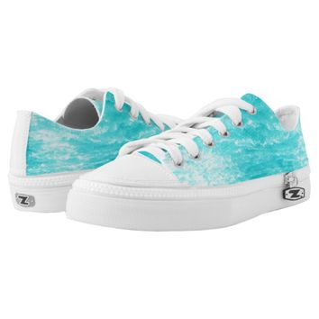 Turquoise Blue Water with Splashes Design Printed Shoes
