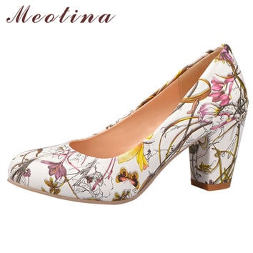 Meotina High Heels Women Shoes Heels Round Toe Square Heels Female Flower Pumps Cheap Work Shoes Yellow Red Large size 9 10 43