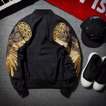 ca qiyif Spring Black Embroidery Bomber Jacket