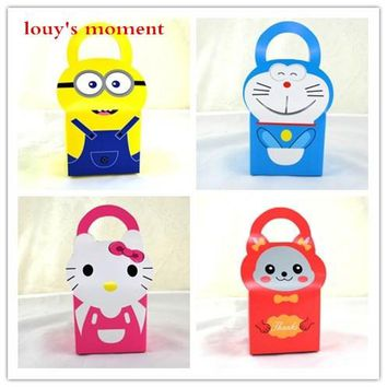 Free Shipping 10 X Baby Shower Candy Box Cartoon Doraemon/Minions Gift Box Candy Bag For Kids Birthday Party Gift