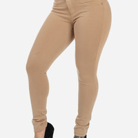 Beige High Waist Butt Lift Stretchy Pants
