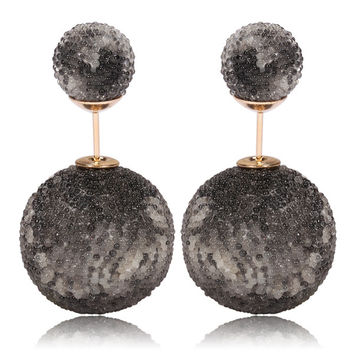 Italian Import Gum Tee Mise en Style Tribal Double Bead Earrings - Micro Bead Black Smokey Design