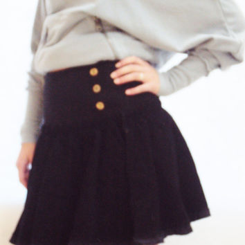 90s FREE PEOPLE Skirt S / Black Skirt / Black Mini Skirt / A Line Skirt / High Waist 90s Skirt / On Trend