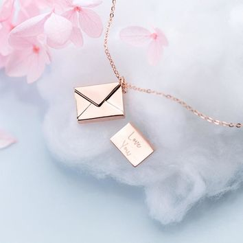 Love Letter Pendants Necklace 925 Silver Kolye Charm Minimalism Vintage Boho Bijoux Femme Collier Necklace Women Jewelry Joyas