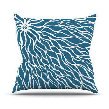 "NL Designs ""Swirls Teal"" Blue Teal Throw Pillow"