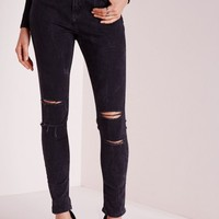 Missguided - Sinner High Waisted Double Ripped Knee Skinny Jeans Black