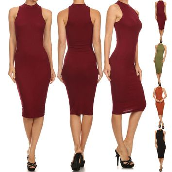 Solid Mockneck Sleeveless Diamante Stretch Bodycon Midi Dress