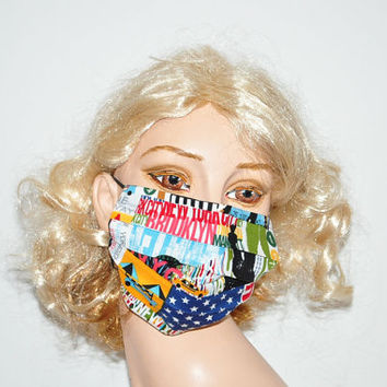 Smog protection, City smog, travel in Style, Brooklyn, New York, Designer Face mask, cotton mask, washable and reusable