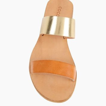 Leather Slide Sandals - Natural
