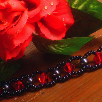 Gothic Red Crystal & Hematite Woven Bracelet
