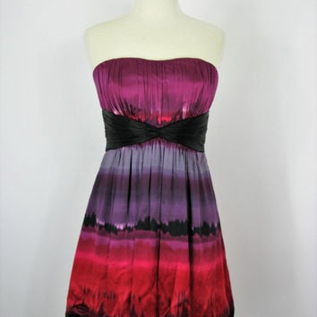 Bebe Dip Dyed Silk Strapless Bandeau Bubble Dress M