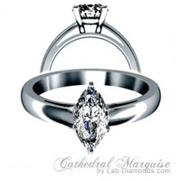 Lab Created Diamond Engagement Ring - Cathedral Marquise