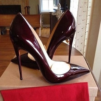 2015 spring new European patent leather high-heeled shoes shallow mouth pointed sexy fine with wine red wedding shoes women shoes