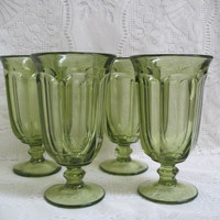 Old Williamsburg Verde Green Iced Tea Glasses, Set of Four, Imperial Glass, Light Green Glassware