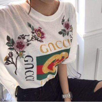 Kalete GUCCI Fashion Casual Embroidery Roses Letter Print Short Sleeve T-shirt Top
